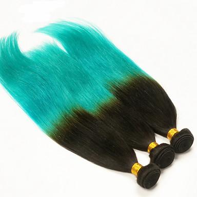 Ombre שיער פרואני ישר שישה חודשים 3 חלקים שוזרת שיער