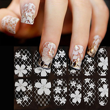1 pcs Autocolantes de Unhas 3D Laço Autocolantes arte de unha Manicure e pedicure Flor / Fashion Diário / PVC / Etiqueta do laço / Etiquetas de unhas 3D