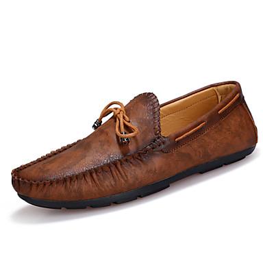 גברים נעליים דמוי עור אביב קיץ סתיו חורף נוחות נעלי סירה שרוכים עבור קזו'אל חום נייבי