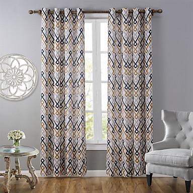 One Panel Modernit Raita Monivärinen Living Room Polyesteri Paneeli Verhot Drapes