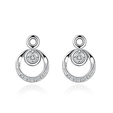 Mulheres Cristal Brincos Curtos Brincos Compridos - Prata Chapeada Prata Para Casamento Festa Diário