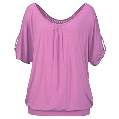 Damen Solide Sexy Einfach Niedlich Lässig/Alltäglich T-shirt,Rundhalsausschnitt Sommer Kurzarm Polyester Dünn