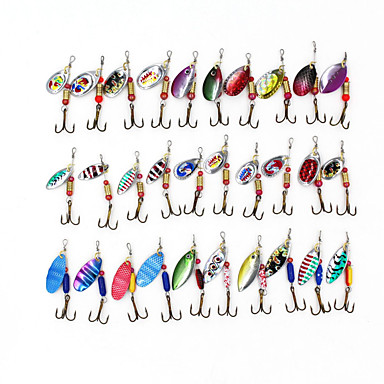 cheap Fishing Lures & Flies-30 pcs Fishing Lures Hard Bait Buzzbait & Spinnerbait Lure Packs Spinnerbaits Metal Sinking Fast Sinking Sea Fishing Bait Casting Spinning / Freshwater Fishing / Bass Fishing / Lure Fishing