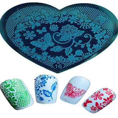 1pcs Nagelkunst herzförmigen Prägevorlage schönen Schmetterling Blume Tier Bild Design Nagelkunstwerkzeuge 16-20