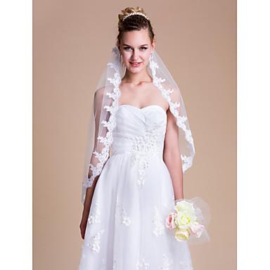 Один слой Кружевная кромка Свадебные вуали Фата до локтя С Вышивка 35,43 В (90 см) Тюль