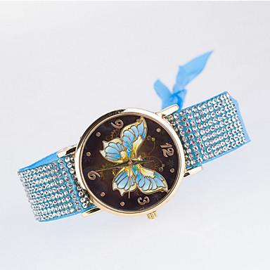 Femme Montre Tendance Montre Diamant Simulation Quartz Montre Décontractée Tissu Bande Blanc Bleu Marron Rose Violet Bayadère Beige Kaki