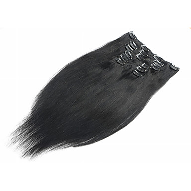 Clip In Human Hair Extensions Straight Virgin Human Hair Women's Daily