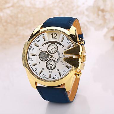 Herrn Armbanduhr Quartz Armbanduhren für den Alltag Leder Band Schwarz Weiß