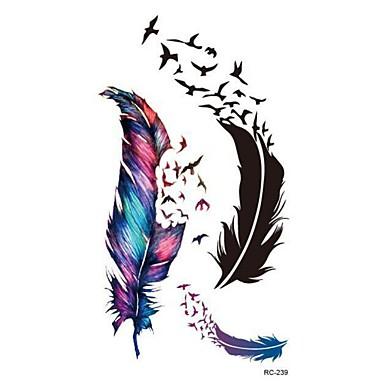 -Tattoo Aufkleber-Waterproof-Andere- fürDamen / Herren / Erwachsener-Mehrfarbig-PVC-1pcsStück -10.5*6cm-feather