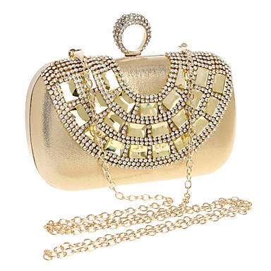 Women's Bags Polyester Evening Bag Rhinestone / Crystal Gold / Silver