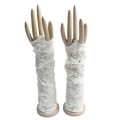 Kyynärpääpituus Sormettomat Glove Puuvilla Morsiuskäsineet Juhlakäsineet Kevät Kesä Syksy Talvi Strasseilla