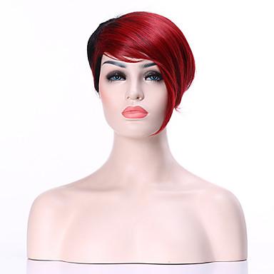 Perucas sintéticas Liso Cabelo Sintético Vermelho Peruca Mulheres Curto Sem Touca Preto / Borgonha hairjoy