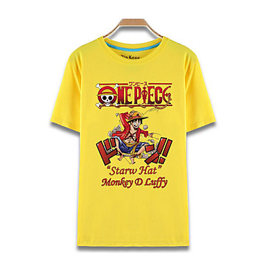 Inspiré par One Piece Monkey D. Luffy Manga Costumes de Cosplay Cosplay T-shirt Imprimé Manches Courtes Haut Pour Unisexe