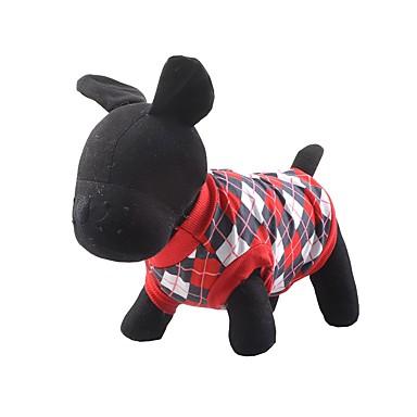 Koira T-paita Koiran vaatteet Pidä Lämmin Ruutu/skotti Punainen Sininen