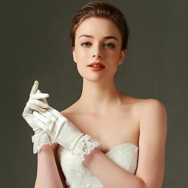 Nylon Elastischer Satin Handgelenk-Länge Handschuh Brauthandschuhe Party / Abendhandschuhe With Rüschen