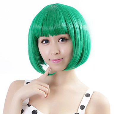 Women's Synthetic Wig Straight Green Bob Haircut Costume Wig