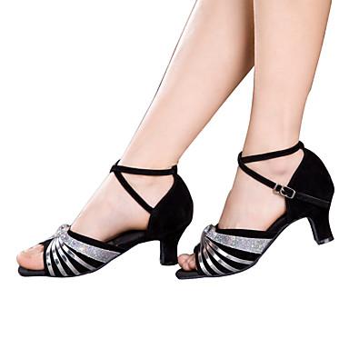 Mulheres Sapatos de Dança Latina Glitter / Paetês / Sintético Sandália / Salto / Têni Lantejoulas / Apliques / Gliter com Brilho Salto