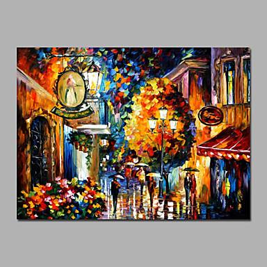 Maalattu Abstrakti / MaisemaModerni / European Style 1 paneeli Kanvas Hang-Painted öljymaalaus For Kodinsisustus