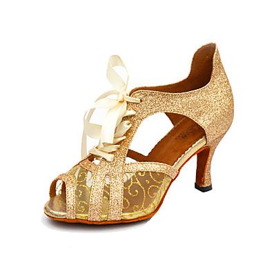 Damen Salsa Glitzer Kunstleder Sandalen Innen Schnürbar Stöckelabsatz Schwarz Weiß Gold Keine Maßfertigung möglich