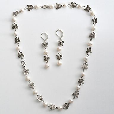 Damen Schmuckset Halskette / Ohrringe Hochzeit Party Synthetische Edelsteine Perle Schmetterling Tier Ohrringe Halsketten
