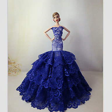 Juhla/ilta Mekot varten Barbie-nukke Pitsi Satiini Leninki varten Tytön Doll Toy