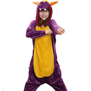 Kigurumi-pyjamas drake Onesie-pyjamas Kostym Korallfleece Cosplay För Vuxna Pyjamas med djur Tecknad serie halloween Festival / högtid