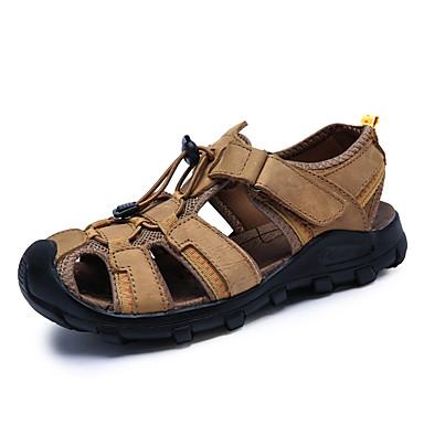 Homens sapatos Pele Napa Verão Conforto Sandálias Água Velcro para Ao ar livre Castanho Escuro Khaki Verde Escuro