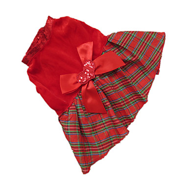 Dog Dress Dog Clothes Plaid / Check Red / Grid Terylene Costume For Pets