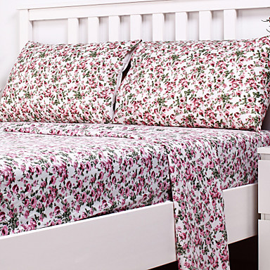 Confortable Polyester Ensemble de draps Plaine Fleur Teinture en pièce
