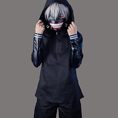 مستوحاة من طوكيو الغول كين Kaneki أنيمي أزياء Cosplay الدعاوى تأثيري لون سادة كم طويل معطف / بلايز / بنطلونات من أجل رجالي
