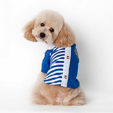 Koira T-paita Koiran vaatteet Rento/arki Raita Punainen Sininen