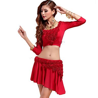 ריקוד בטן תלבושות בגדי ריקוד נשים אימון Chinlon אפליקציות חלק 1 אורך שרוול 3/4 טבעי עליון / חצאית M:30cm/L:32cm