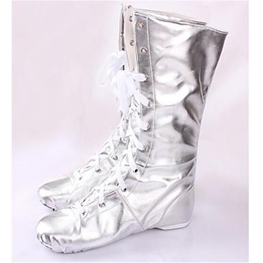 Mulheres Sapatos de Jazz Couro Botas Salto Baixo Não Personalizável Sapatos de Dança Prateado