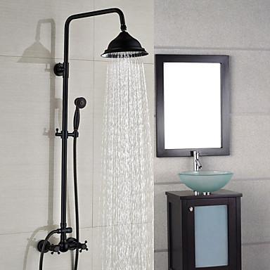 Suvremena Središnje pozicionirane Tuš s kišnim mlazom Waterfall Tuš uključen Keramičke ventila Dvije ručke dvije rupe Lakirana bronca,