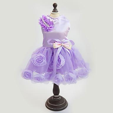 Hund Kleider Hundekleidung Blumen / Pflanzen Purpur Rosa Stoff Kostüm Für Haustiere Damen Modisch Hochzeit Neujahr