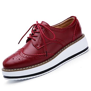 Naisten Kengät Nahka Kevät Syksy Comfort Tasapohja Solmittavat varten Musta Punainen