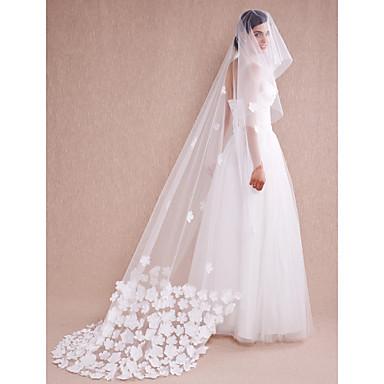 Hochzeitsschleier Einschichtig Kathedralen Schleier Spitzen-Saum Tüll Eifenbein