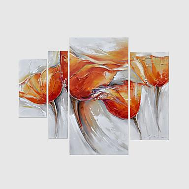 Handgemalte Abstrakt Blumenmuster/Botanisch Jede Form,Modern Vier Panele Leinwand Hang-Ölgemälde For Haus Dekoration