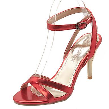נעלי נשים-סנדלים-דמוי עור-מעוגל-אדום / כסוף / זהב-שמלה-עקב סטילטו