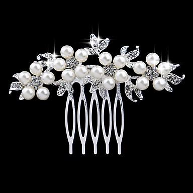Mulheres Elegante & Luxuoso Cristal Imitação de Pérola Imitações de Diamante Pente