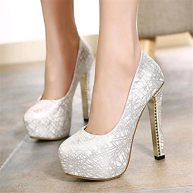 Magassarkú-Stiletto-Női cipő-Magassarkú-Esküvői / Party és Estélyi-Bőrutánzat-Ezüst / Arany