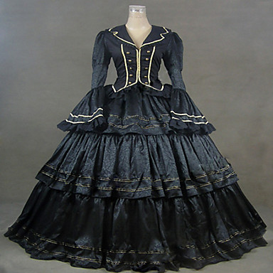 Badedrakt/Kjoler Gotisk Lolita Klassisk og Tradisjonell Lolita Steampunk® Cosplay Lolita-kjoler Ensfarget Langermet Lang Lengde Kjole Til