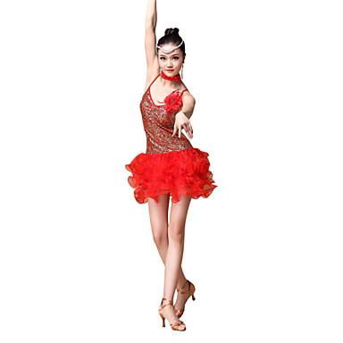 Latein-Tanz Austattungen Damen Vorstellung Polyester Pailletten Gerafft 4 Stück Kleid Neckwear Armbänder