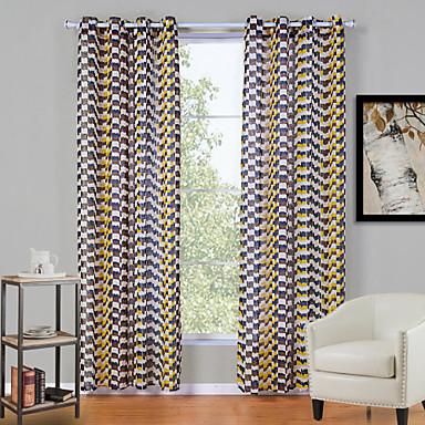 To paneler Moderne Pledd / Tern Multi-farge Stue Polyester Panel Gardiner Gardiner