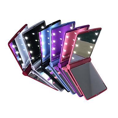 førerspejle mini bærbar foldning kompakt hånd kosmetisk make up lommerspejl med 8 ledet lys til kvinder piger dame