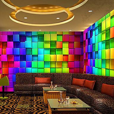 אפקט עור shinny 3D טפט ציור קיר גדול אמנות רשת צבעוניות נייר קיר תפאורת קיר