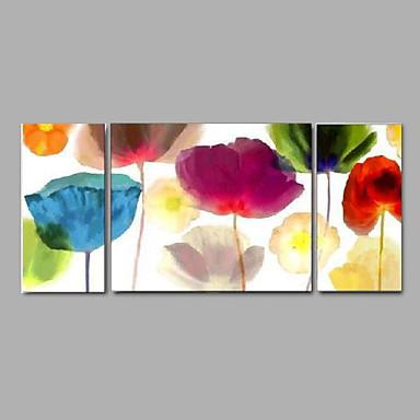 Hang-Painted Oliemaleri Hånd malede - Abstrakt / Landskab / Sille Liv Moderne Lærred / Tre Paneler