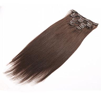voordelige Extensions van echt haar-PANSY Clip-in Extensions van echt haar Recht Echt haar Braziliaans haar Blonde