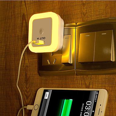 usb branco sensor de luz criativa quente recarregável relativas à luz bebê noite de sono (cores sortidas)