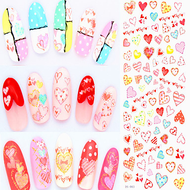 3pcs DIY Wassertransfernagelkunstaufkleber Mode Nägel bunten Blumen Maniküre Abziehbilder nett Nageldekorationen Werkzeuge